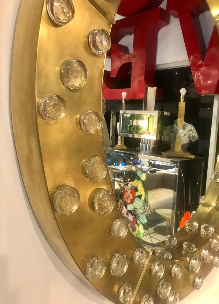 Large Mid-Century Modern Italian Brass and Blown Murano Glass Circular Mirror For Sale 5
