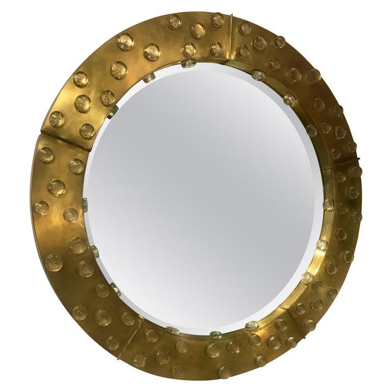 Large Mid-Century Modern Italian Brass and Blown Murano Glass Circular Mirror For Sale