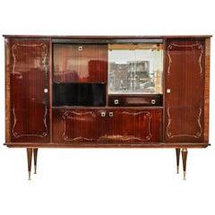 Large Mid-Century Modern Italian Mahogany China Cabinet Bar Manner of Gio Ponti