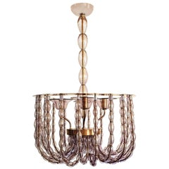 Large Mid-Century Modern Lilac Murano Glass & Brass Chandelier Venini Style 1960