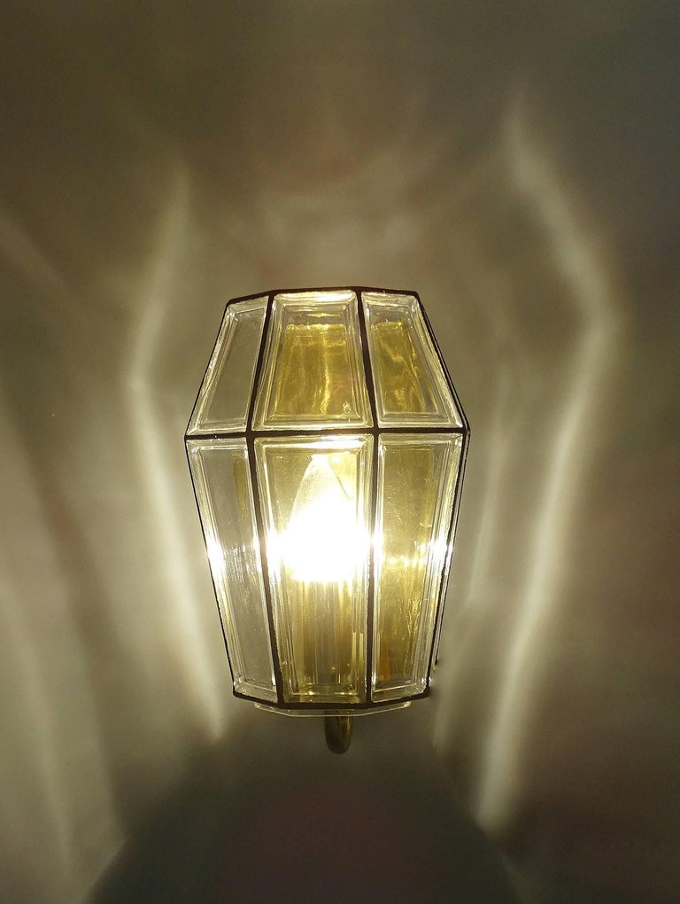 Large Mid Century Modern Limburg Glass and Brass Sconce,  Vistosi Seguso Era For Sale 5