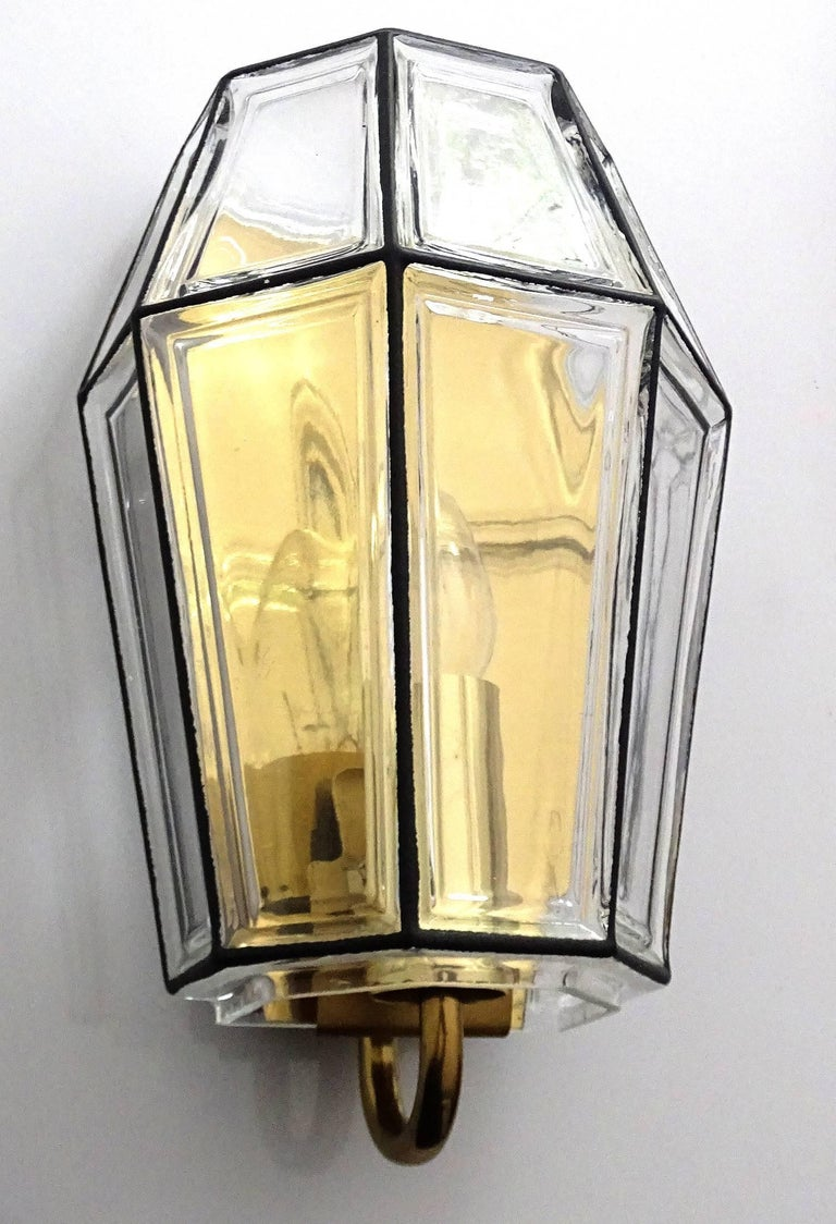 Large Mid Century Modern Limburg Glass and Brass Sconce,  Vistosi Seguso Era For Sale 6