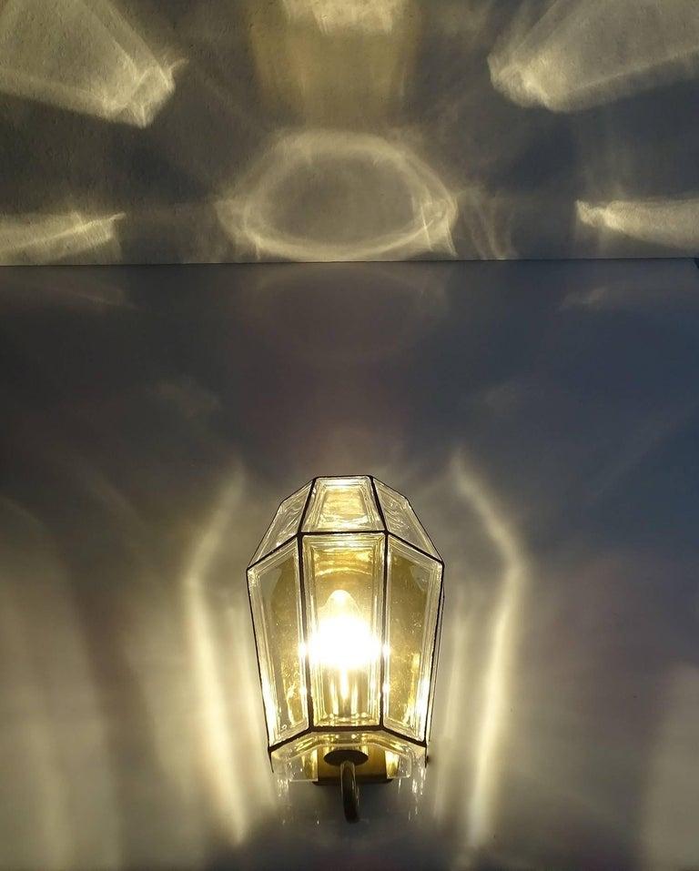 Large Mid Century Modern Limburg Glass and Brass Sconce,  Vistosi Seguso Era For Sale 8