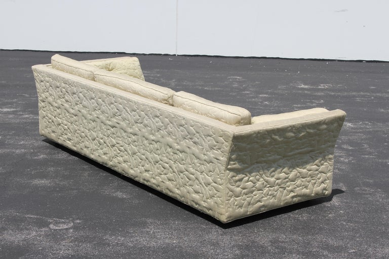 Large Mid-Century Modern Low Custom Sofa by Flair Inc on Brass Castors, Project For Sale 6