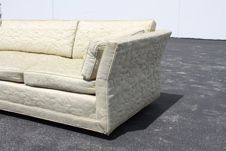 Large Mid-Century Modern Low Custom Sofa by Flair Inc on Brass Castors, Project In Good Condition For Sale In St. Louis, MO
