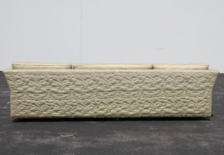 Large Mid-Century Modern Low Custom Sofa by Flair Inc on Brass Castors, Project For Sale 3