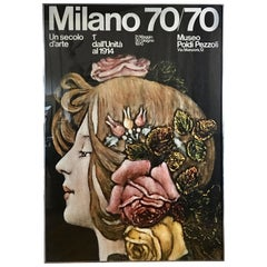 Large Mid-Century Modern Milano Italy Female Bust Lithograph Wall Art