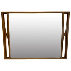 Large Mid-Century Modern Mirror with Inlay and Sculpted Design