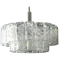 Large Mid-Century Modern Modernist Doria Crystal Glass Chandelier