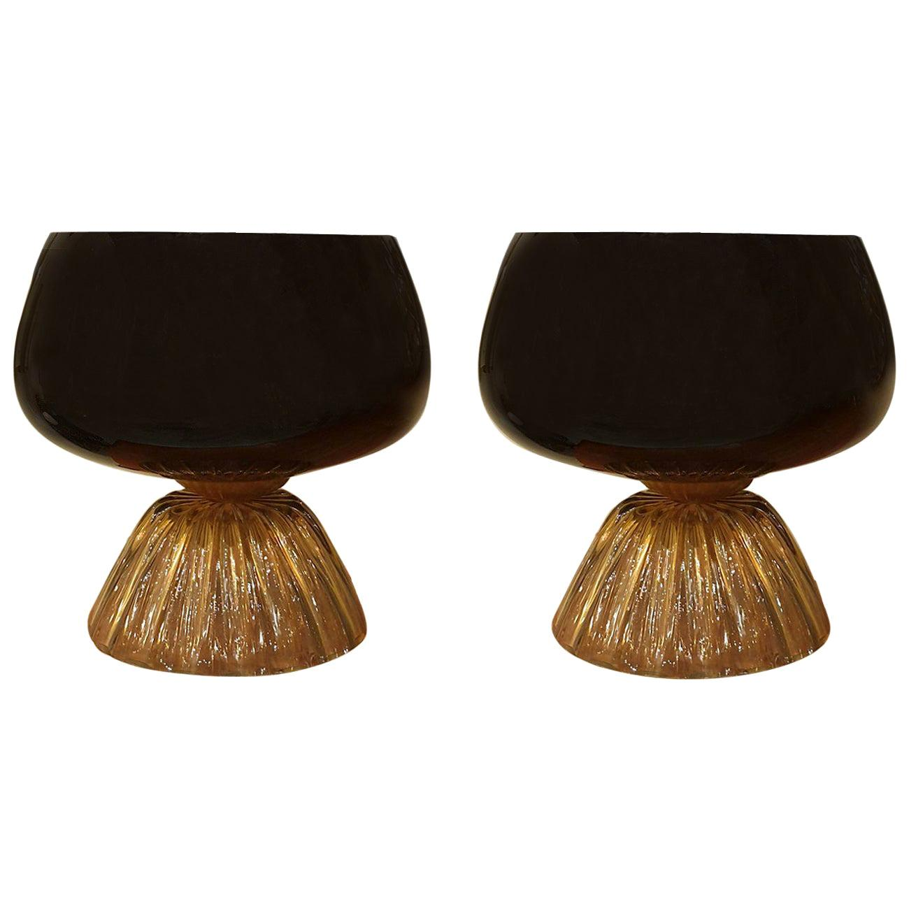 Large Mid-Century Modern Murano Black/Brown Glass, Cenedese Styl Lamps Italy 60s