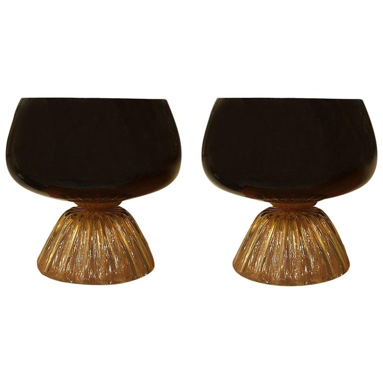 Large Mid-Century Modern Murano Black/Brown Glass Cenedese Style Lamps 1960 For Sale