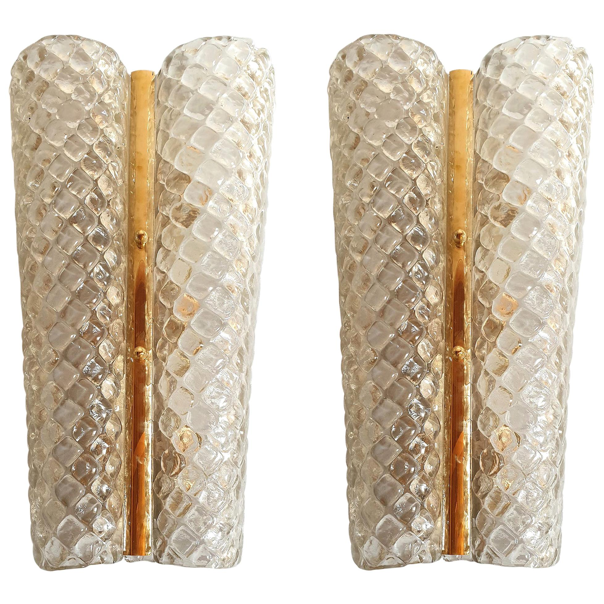 Large Mid-Century Modern Murano Clear Glass & Brass Sconces Italy, 1960, 2 Pairs