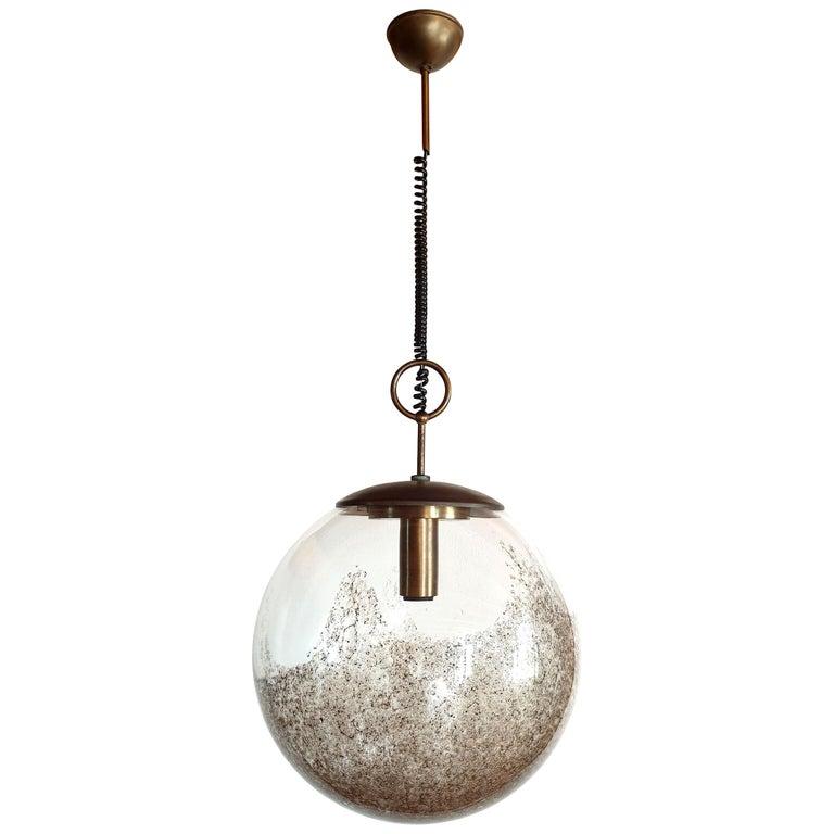 Large Mid-Century Modern Murano Glass Ball Chandelier, Carlo Nason, Mazzega 1960 For Sale