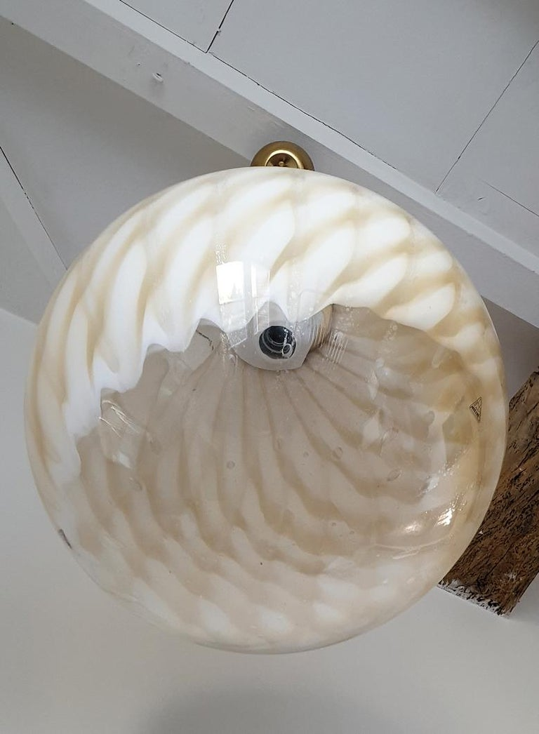 Hand-Crafted Large Mid-Century Modern Murano Glass Ceiling Globe, Toni Zuccheri for Venini For Sale