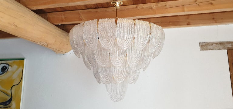 Hand-Crafted Large Mid-Century Modern Murano Glass Chandelier/Flushmount Mazzega Style - 2 av For Sale