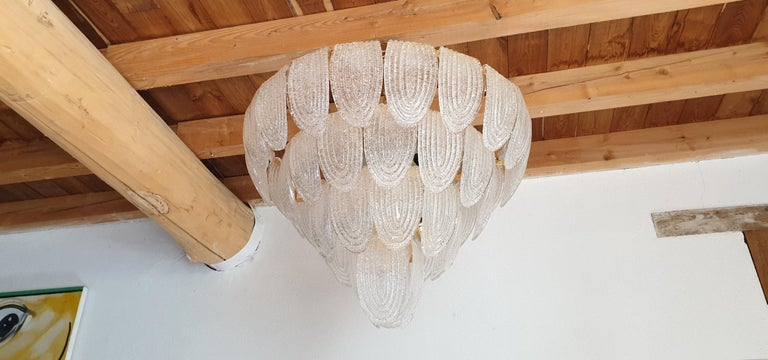 Large Mid-Century Modern Murano Glass Chandelier/Flushmount Mazzega Style - 2 av In Excellent Condition For Sale In Dallas, TX