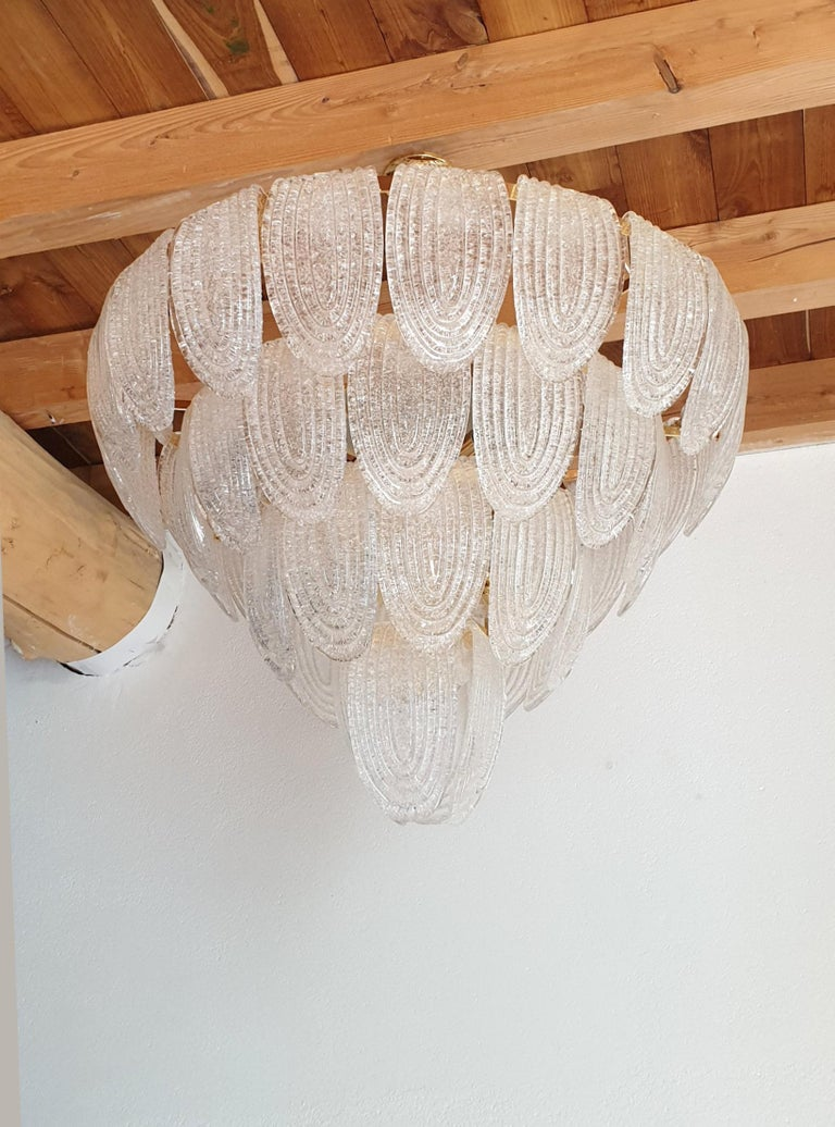 Late 20th Century Large Mid-Century Modern Murano Glass Chandelier/Flushmount Mazzega Style - 2 av For Sale