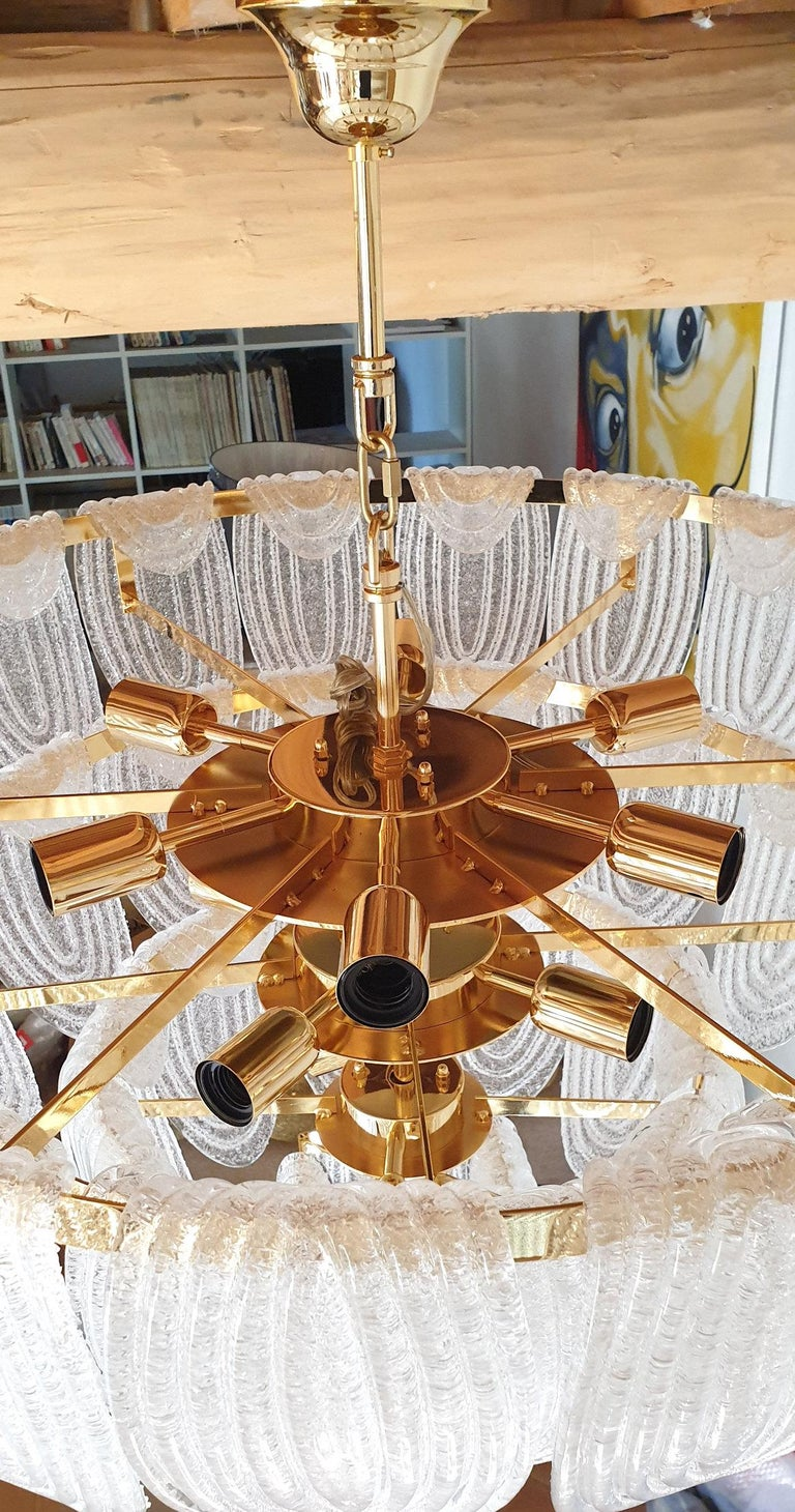 Gold Large Mid-Century Modern Murano Glass Chandelier/Flushmount Mazzega Style - 2 av For Sale
