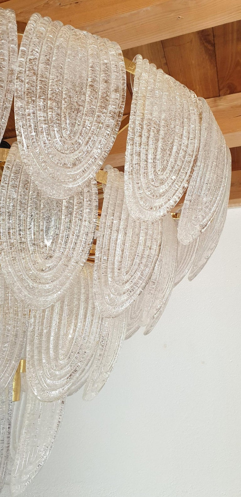 Large Mid-Century Modern Murano Glass Chandelier/Flushmount Mazzega Style - 2 av For Sale 2