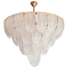 Large Mid-Century Modern Murano Glass Chandelier/Flushmount Mazzega Style 1970s