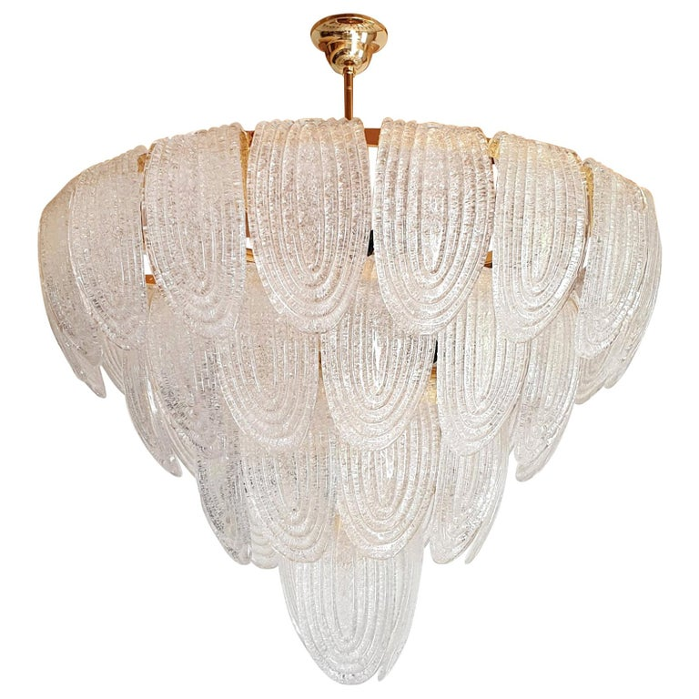 Large Mid-Century Modern Murano Glass Chandelier/Flushmount Mazzega Style - 2 av For Sale