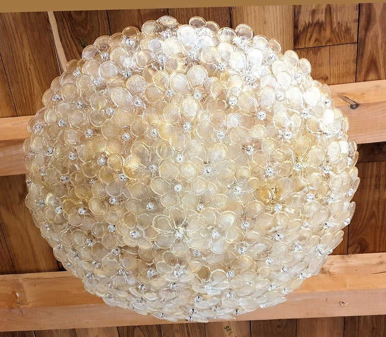 Italian Large Mid-Century Modern Murano Glass Flower Flushmount Light by Barovier, 1970s For Sale