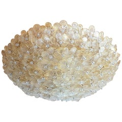 Large Mid-Century Modern Murano Glass Flower Flushmount Light by Barovier, 1970s
