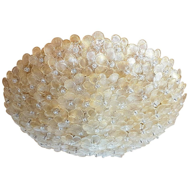 Large Mid-Century Modern Murano Glass Flower Flushmount Light by Barovier, 1970s For Sale