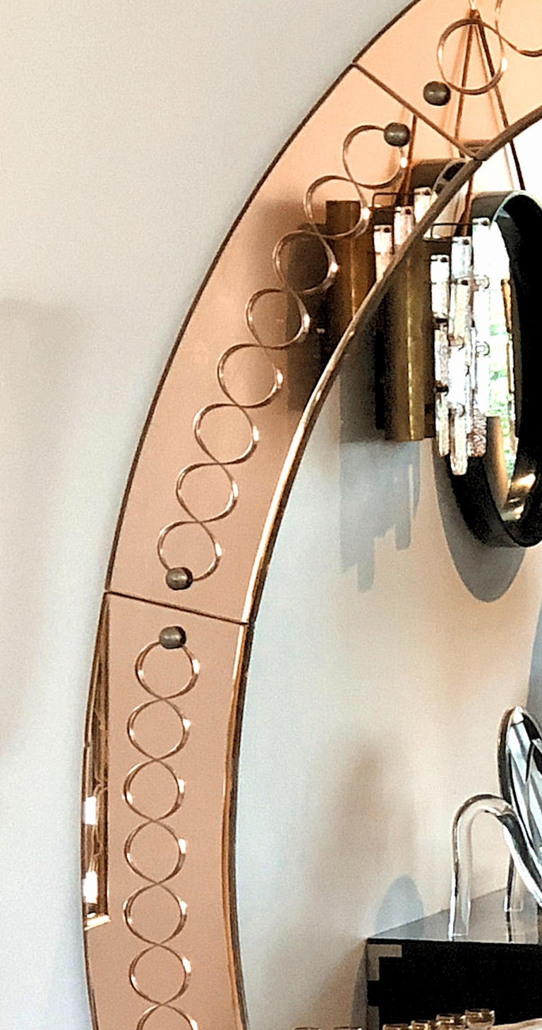 Italian Large Mid-Century Modern, Oval Bronze Glass Mirror by Cristal Arte, Italy 1960s For Sale