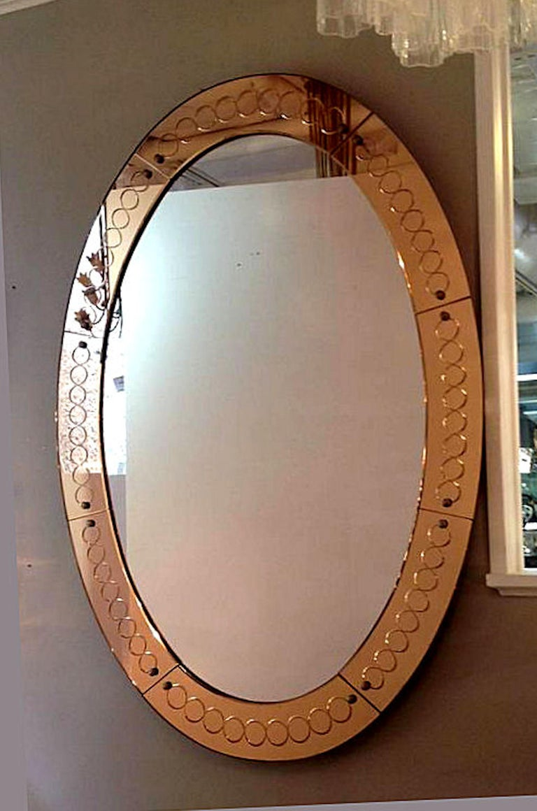 Large Mid-Century Modern, Oval Bronze Glass Mirror by Cristal Arte, Italy 1960s In Good Condition For Sale In Dallas, TX