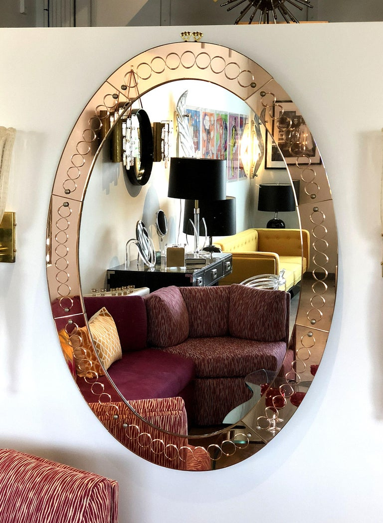 Large Mid-Century Modern, Oval Bronze Glass Mirror by Cristal Arte, Italy 1960s For Sale 1