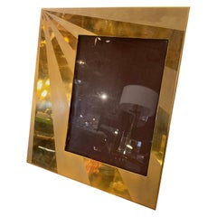 Large Mid-Century Modern Photo Frame in Brass-Plated Gold, Italy, Late 1960s