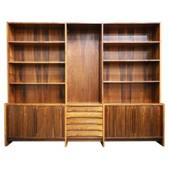 Large Mid-Century Modern Rosewood Bookcase and Storage Cabinet