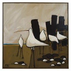 Large Mid-Century Modern Seagulls Oil Painting by McCaine