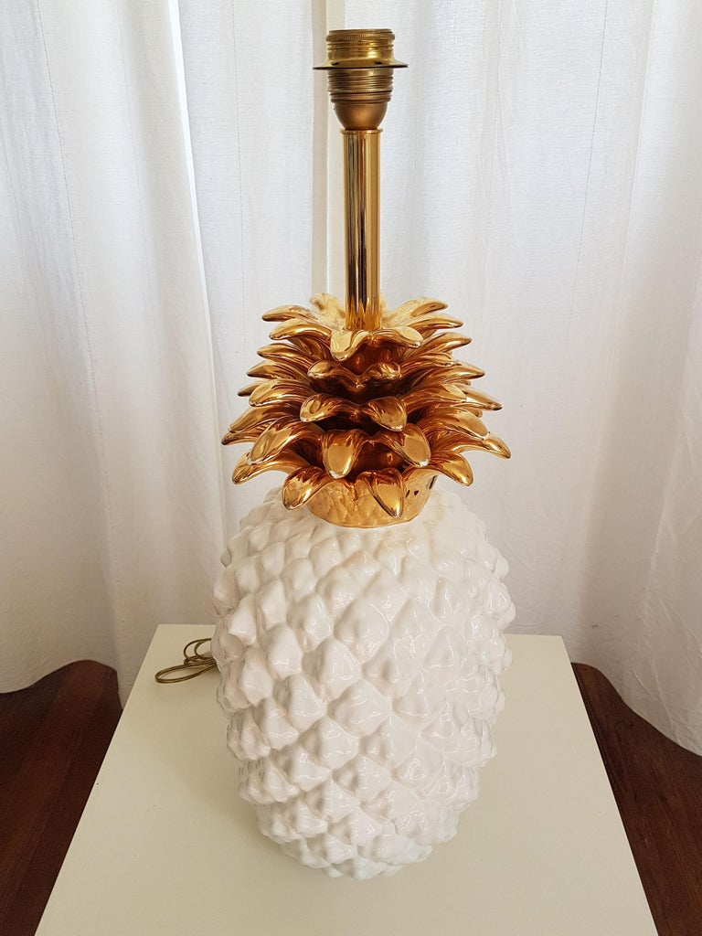 Italian Large Mid-Century Modern Single Ceramic Pinapple Lamp, by Maison Lancel, Paris For Sale