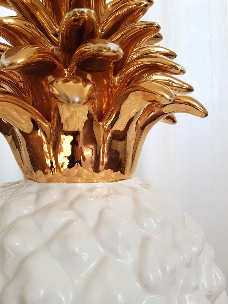 Large Mid-Century Modern Single Ceramic Pinapple Lamp, by Maison Lancel, Paris For Sale 2