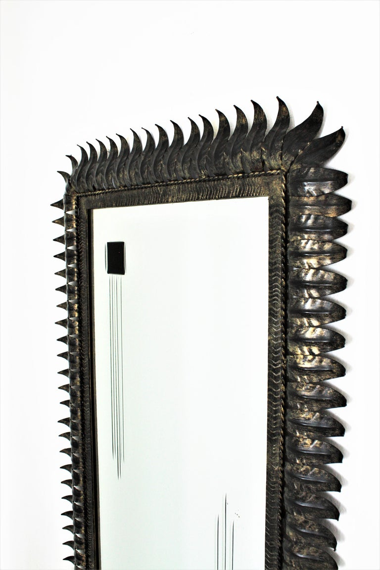 Large Mid-Century Modern Spanish Parcel Gilt Iron Rectangular Sunburst Mirror For Sale 1