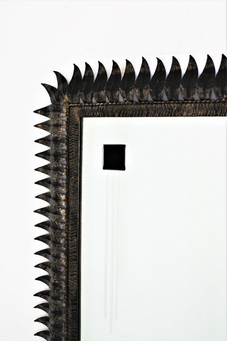 Large Mid-Century Modern Spanish Parcel Gilt Iron Rectangular Sunburst Mirror For Sale 3