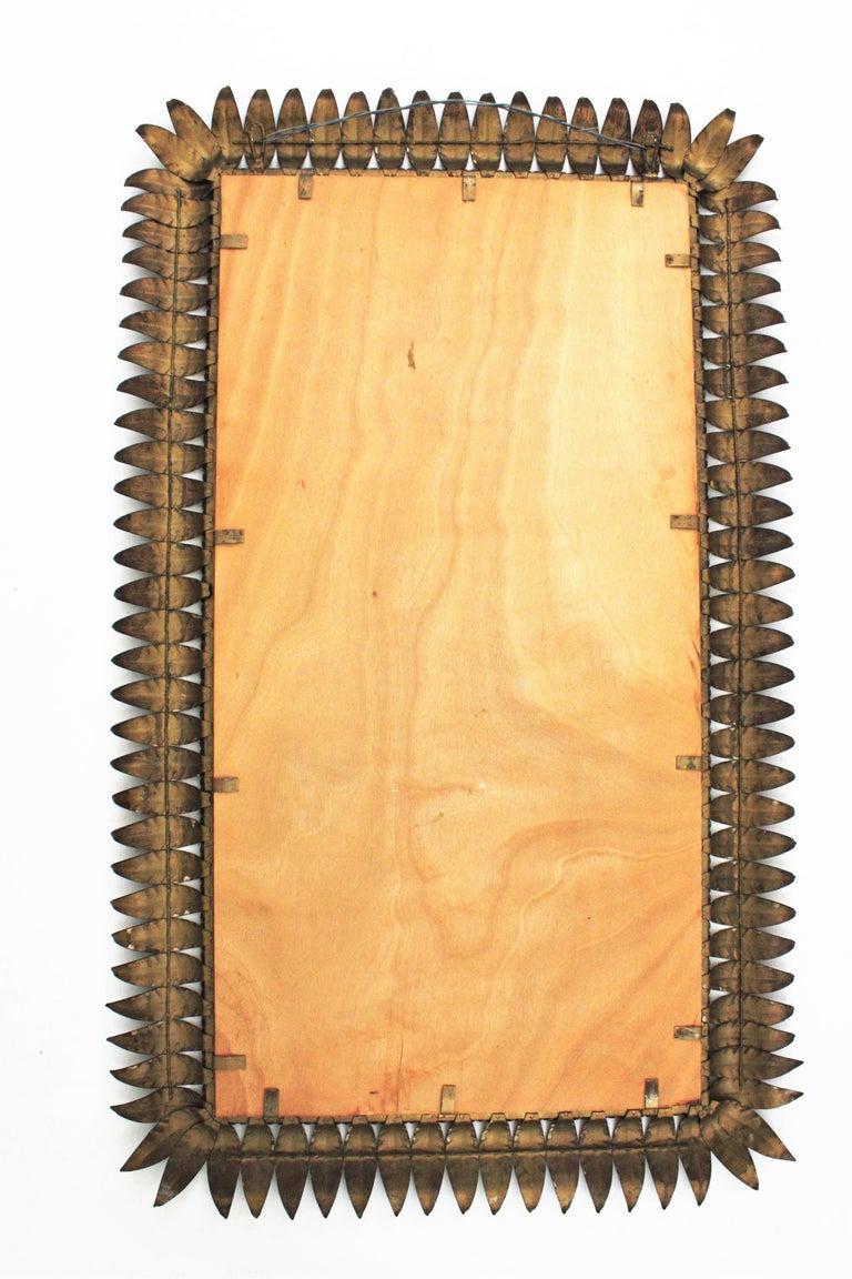 Large Mid-Century Modern Spanish Parcel Gilt Iron Rectangular Sunburst Mirror For Sale 4