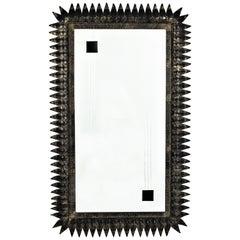 Large Mid-Century Modern Spanish Parcel Gilt Iron Rectangular Sunburst Mirror