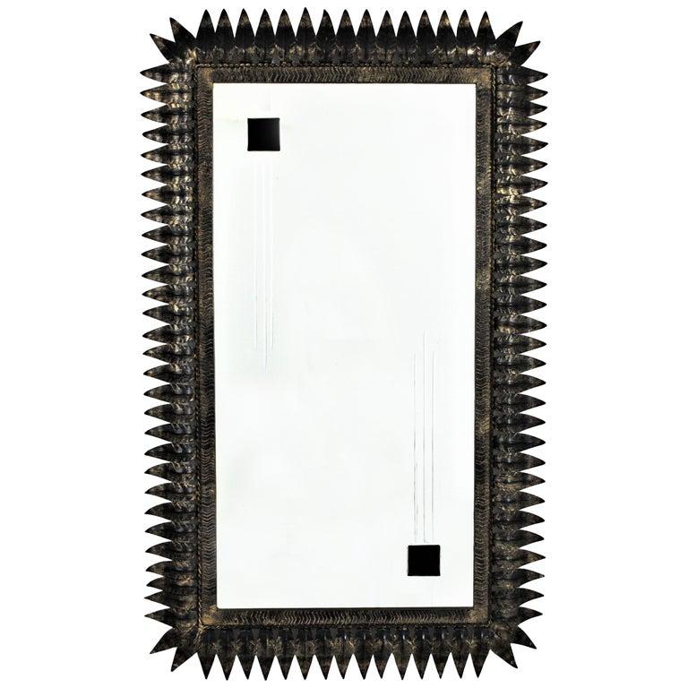 Large Mid-Century Modern Spanish Parcel Gilt Iron Rectangular Sunburst Mirror For Sale