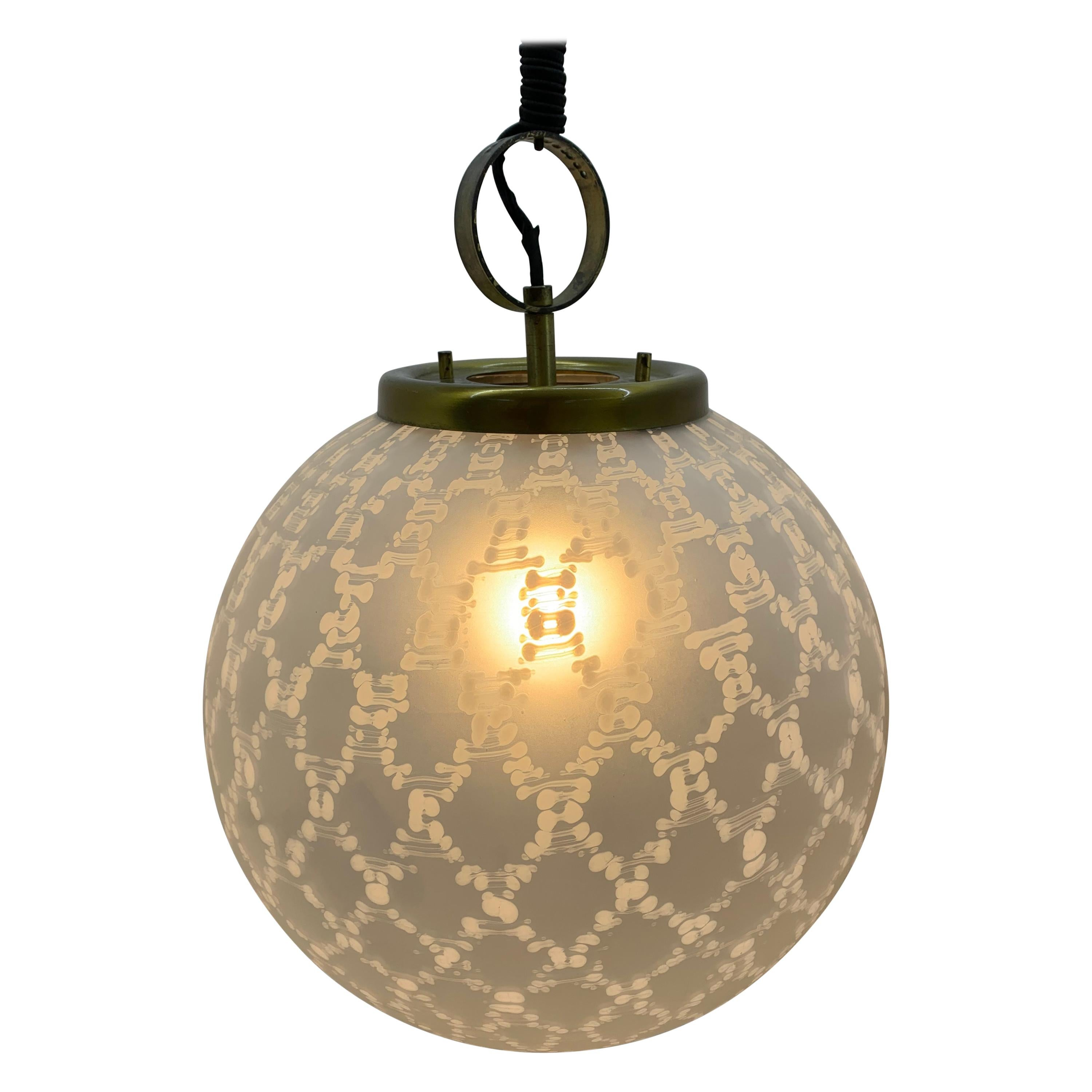 Large Mid-Century Modern Sphere Chandelier in Murano Glass by Venini, circa 1970