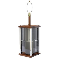 Large Mid-Century Modern Square Walnut & Lucite Table Lamp