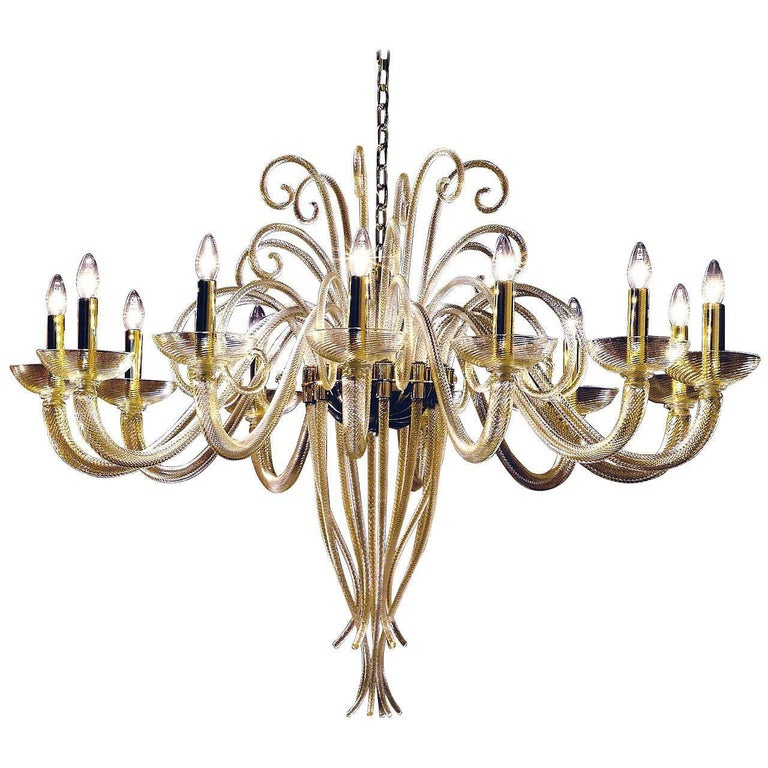Large Mid-Century Modern Style Twelve-Arm Gold Murano Glass Chandelier For Sale