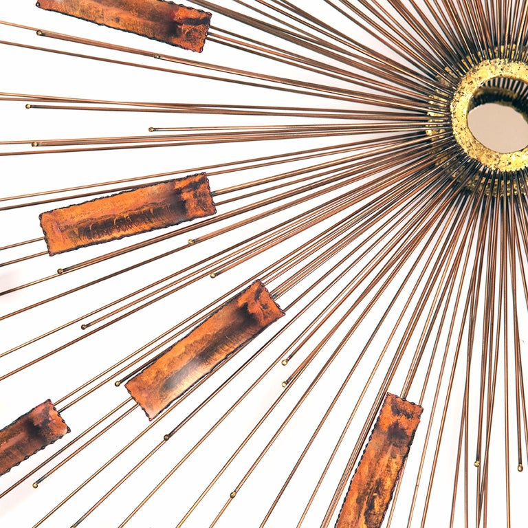 Welded Large Mid-Century Modern Sunburst Wall Mirror For Sale