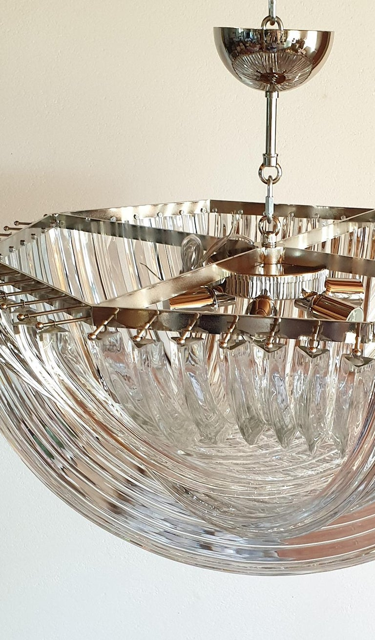 Large Mid-Century Modern Venini Chandelier Clear Murano Glass Tubes, 2 Available For Sale 1