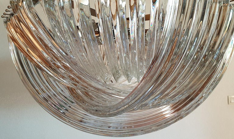 Large Mid-Century Modern Venini Chandelier Clear Murano Glass Tubes, 2 Available For Sale 2