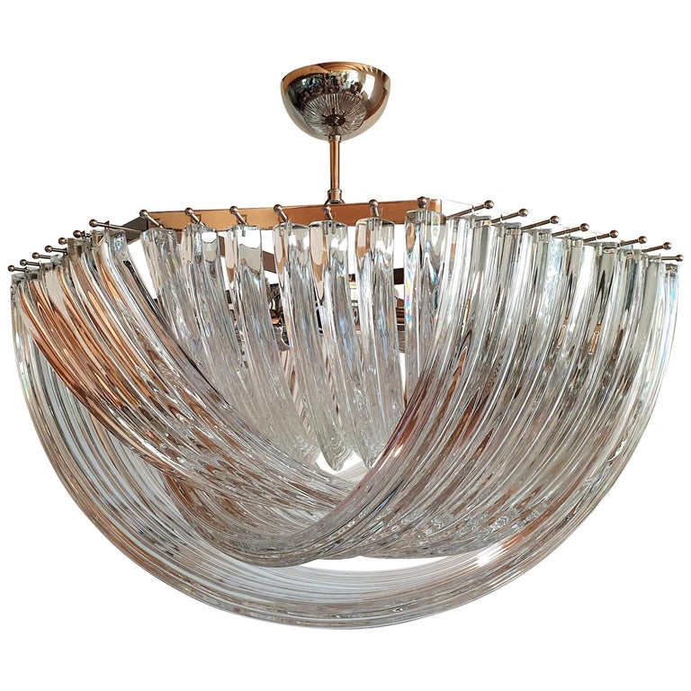 Large Mid-Century Modern Venini Chandelier in Clear Murano Glass, 2 Available For Sale