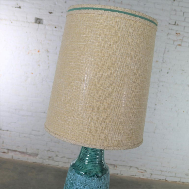 Large Mid-Century Modern Turquoise Lava Glaze Ceramic Table Lamp after Fantoni For Sale 4