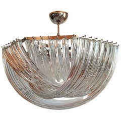 Large Mid-Century Modern Venini Chandelier Clear Murano Glass Tubes, 2 Available
